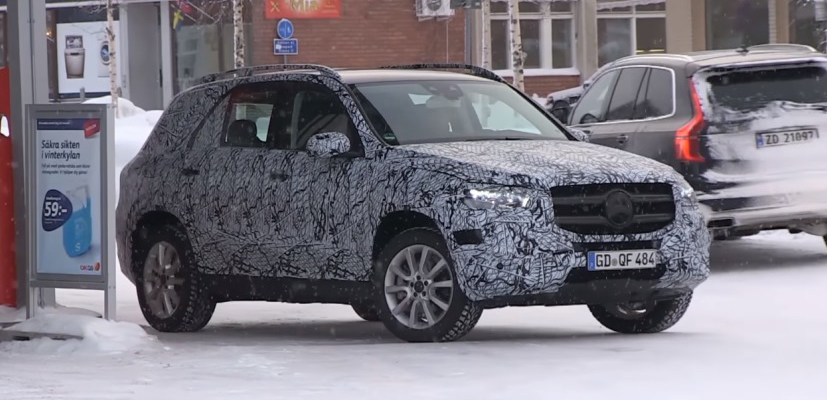 Mercedes Benz GLE spotted test driving in snowy terrain